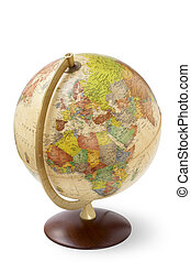 close up of an antique globe on white background