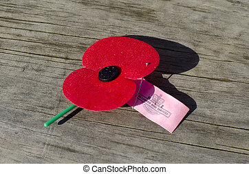 ANZAC red poppie - Close up of an ANZAC red poppie on the...