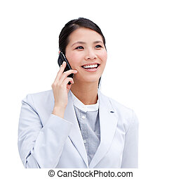 Close-up of an Asian businesswoman on phone