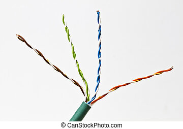 colorful electrical wire - Close up of an colorful ...