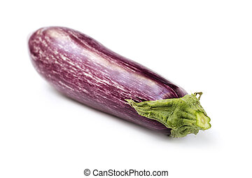 close up of an eggplant isolated on white background