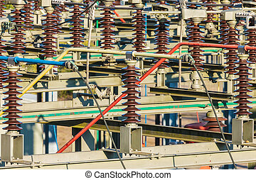Close up of an electricity distribution station