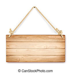 close up of an empty wooden sign hanging on a rope on white...
