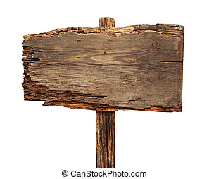 close up of an empty wooden sign isolated on white background