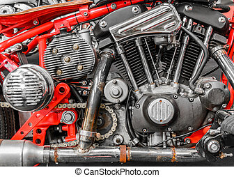 Close-up of an engine on a chopper bike. Horizontal side view of a V2 engine on a chopper.