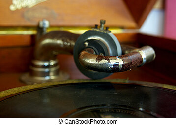 close up of an gramaphone record player