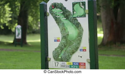 Close up of an information board at a golf course