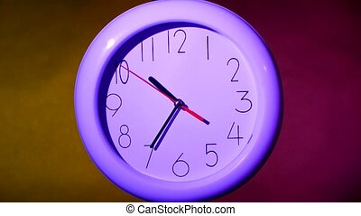 close up of an lilacclock on colorful background