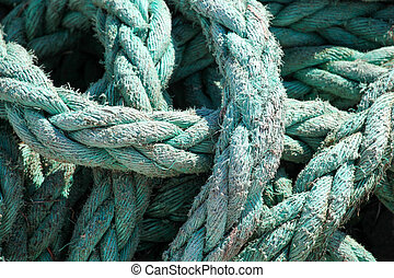 Close-Up Of An Old Boat Rope