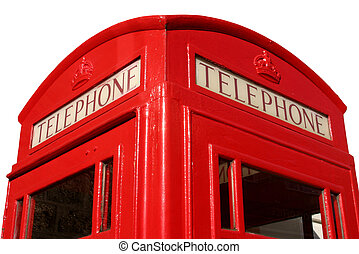 Close up of an old English red telephone box