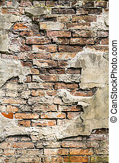 close up of an old grunge brick wall, background