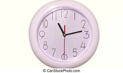 close up of an white clock on white background