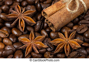 Close-up of anise stars, cinnamon and coffee