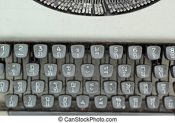 Close up of antique typewriter keys - vintage retro