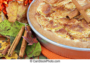 Close up of Apple Kuchen Cake in Autumn Setting - Close up ...