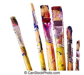 Close up of art utensils. - Close up of group art utensils.