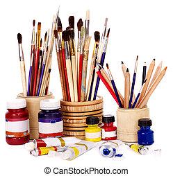 Close up of art utensils. - Close up of group art  supplies.
