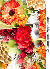 Close up of artificial flower bouquet.