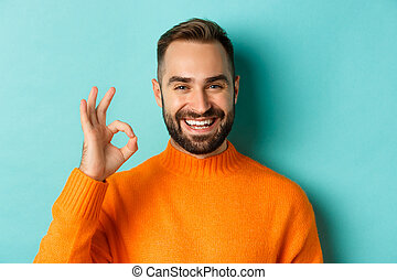 Close-up of assertive young man assuring everything ok, showing okay sign and smiling, yes or positive answer, standing over light blue background