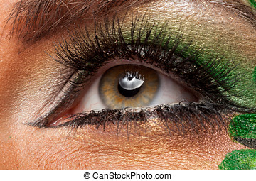 Close up of attractive eye with artistic make up