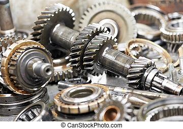 Close-up of automobile engine gears - Close-up of automobile...