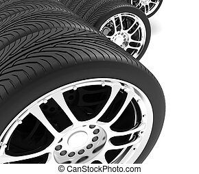 Close-up of automobile wheels