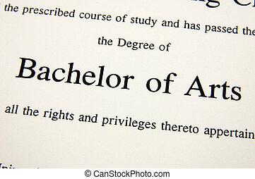 Bachelor of Arts degree - Close up of Bachelor of Arts...