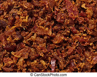 bacon bits texture background - close up of bacon bits ...