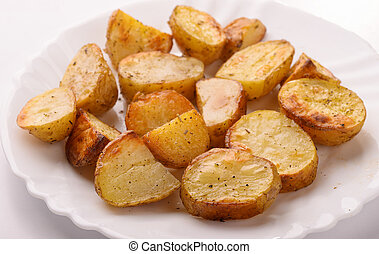 Close up of  baked potato wedges