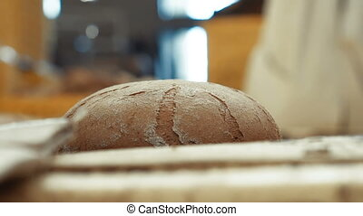 Close up of baking hot rye bread