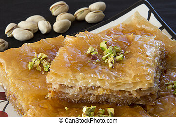 Close Up of Baklava with Pistachios