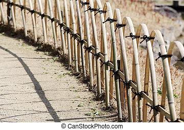 bamboo fence in a Japanese garden