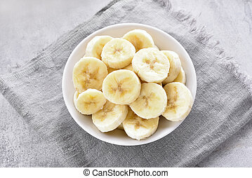Close up of banana slices in bowl