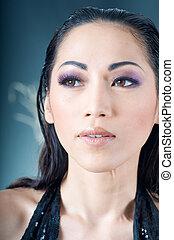 Close up of beautiful Asian woman