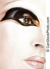 close up of beautiful face with an artistic makeup
