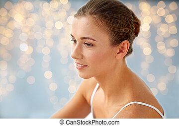 close up of beautiful happy young woman at home