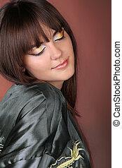 Close up of Beautiful Makeup of young woman