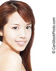 close up of beautiful smiling asian young woman face