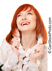 Close-up of beautiful smiling woman face with red  hair
