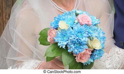 Close-up of beautiful stylish wedding bouquet