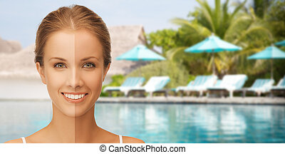 close up of beautiful woman with half face tanned