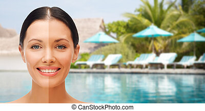close up of beautiful woman with half face tanned - people, ...