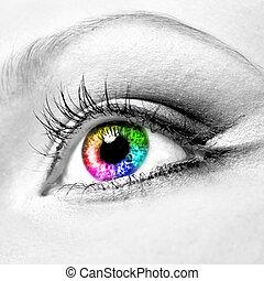 Close-up of beautiful womanish eye - Close-up of beautiful...