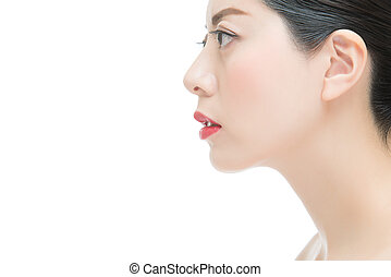 close up of beauty fashion asian girl with red lipstick