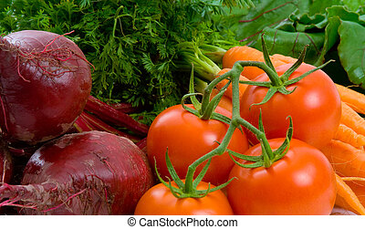 Close up of Beetroot, Carrots and Tomatoes