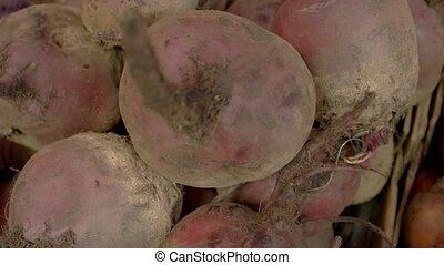 Close-up of beetroots and carrots on the market