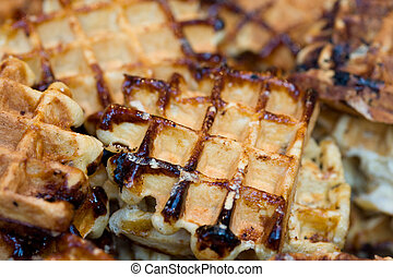 belgium waffles  - close up of belgium waffles