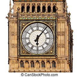 Close up of Big Ben's Clock Face isolated on a White background