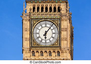 Close up of Big Ben's Clock Face with a clear blue sky behind