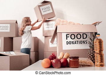 Close up of big food box that being ready for sending